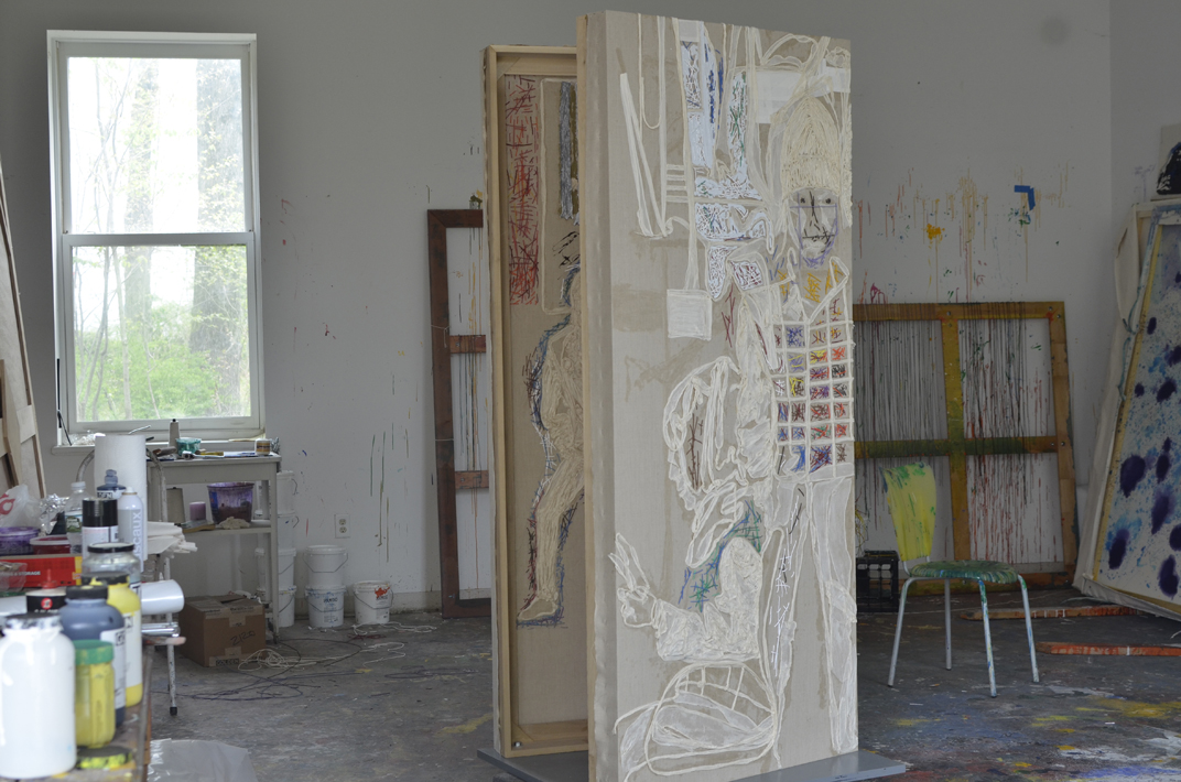 Two linen panels on a plywood base, 81x35 with muslin, cheesecloth and painted string, 2016